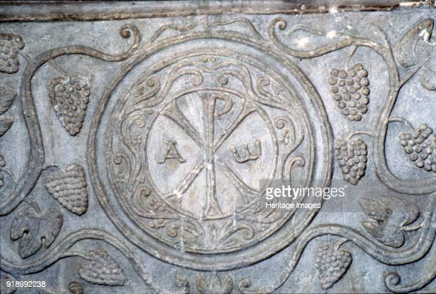 ChiRho symbol from Coptic sarcophagus 7th century First used by Roman emperor Constantine the Great ideally suited to symbolize the crucifixion of...