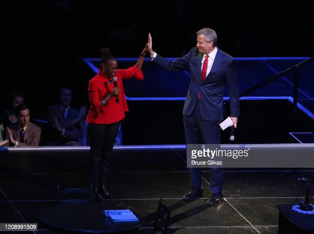 Chirlane McCray and husband NYC Mayor Bill de Blasio introduce Harper Lee's To Kill A Mockingbird a new play by Aaron Sorkin at Madison Square Garden...