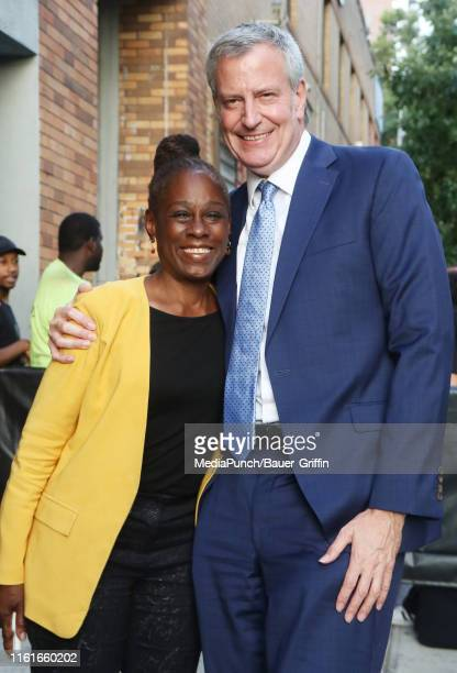 Chirlane McCray and Mayor of New York City and Presidential Candidate Bill de Blasio are seen on August 14 2019 in New York City