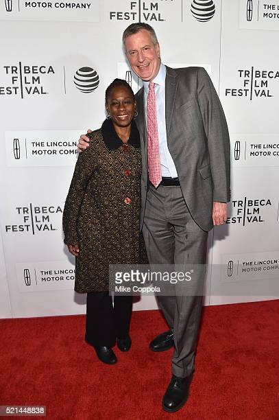 Chirlane McCray and New York City Mayor Bill de Blasio attend the 'All We Had' Premiere during the 2016 Tribeca Film Festival at BMCC John Zuccotti...