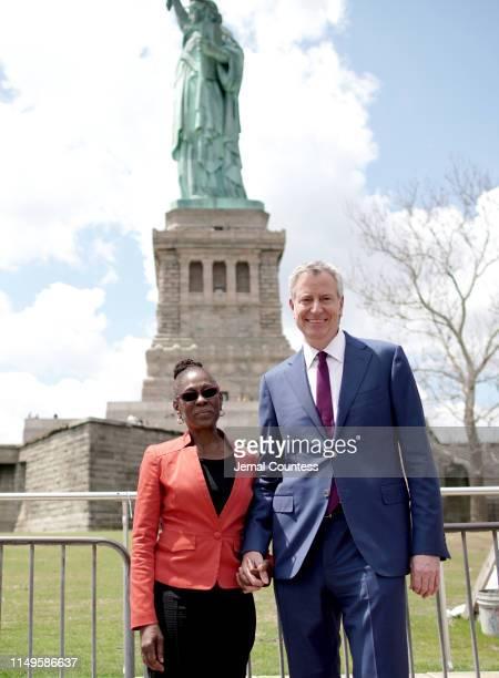 Chirlane McCray and New York City Mayor Bill de Blasio attend the Statue of Liberty Museum Dedication Ceremony at Statue of Liberty Museum on May 16...