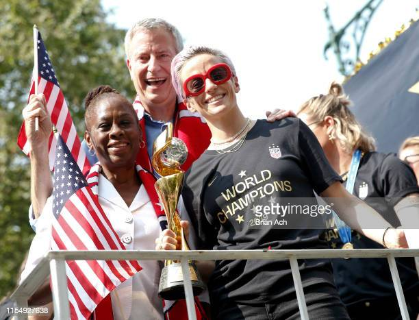 Chirlane McCray NYC Mayor Bill de Blasio and USWNT member and Golden Boot winner Megan Rapinoe are seen at the US Women's National Soccer Team...