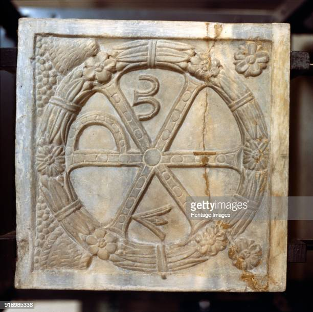 ChiRo symbol with Alpha and Omega Early Christian Sarcophagus Rome 4th century The Chi Rho is one of the earliest forms of christogram formed by...