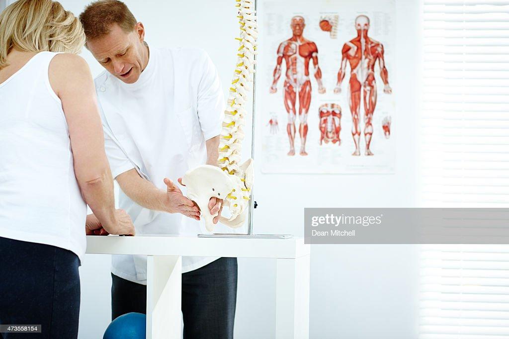 Chiropractor explains patient using plastic model : Stock Photo