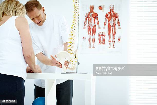 chiropractor explains patient using plastic model - osteoarthritis stock photos and pictures