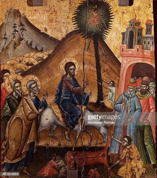 Chirst Entering in Jerusalem attributed to Joan Çetiri 18th Century tempera on wood Albania Tirana Institute for Cultural Monuments Whole artwork...
