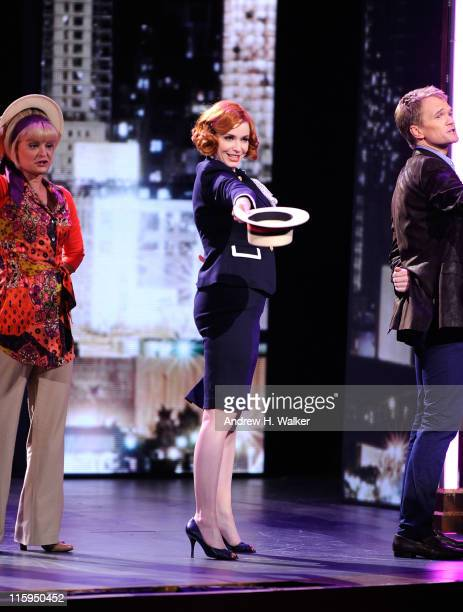 Chirstina Hendricks performs a song from 'Company' on stage during the 65th Annual Tony Awards at the Beacon Theatre on June 12 2011 in New York City
