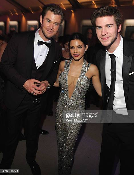 Chis Hemsworth, Jenna Dewan-Tatum and Liam Hemsworth attend the 2014 Vanity Fair Oscar Party Hosted By Graydon Carter on March 2, 2014 in West...