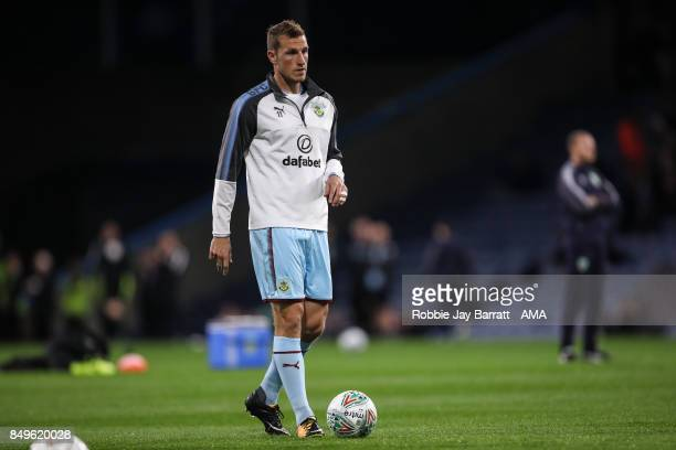 Chis Wood of Burnley warms up prior to the Carabao Cup Third Round match between Burnley and Leeds United at Turf Moor on September 19 2017 in...