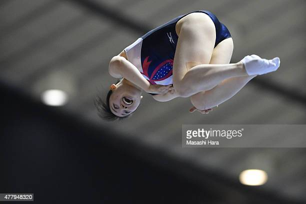 Chisato Doihata in action on day two of the Trampoline Japan National Team Trial for The Trampoline World Championships 2015 at Yoyogi National...