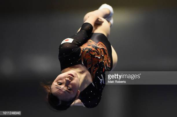 Chisato Doihata of Japan competes during the Women's Individual Final on day two of the Trampoline World Cup at Yamato Citizens Gymnasium Maebashi on...