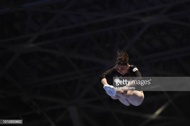 Chisato Doihata of Japan competes during the Women's Individual on day one of the Trampoline World Cup at Yamato Citizens Gymnasium Maebashi on...
