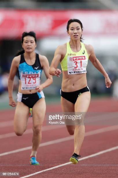 Chisato Fukushima and Sayaka Takeuchi compete in the Women's 100m heat on day one of the 102nd JAAF Athletic Championships at Ishin Me-Life Stadium...