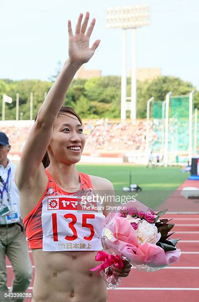 Chisato Fukushima celebrates winning the Women's 200m with the new Japan record during day three of the 100th Japan National Athletic Championships...