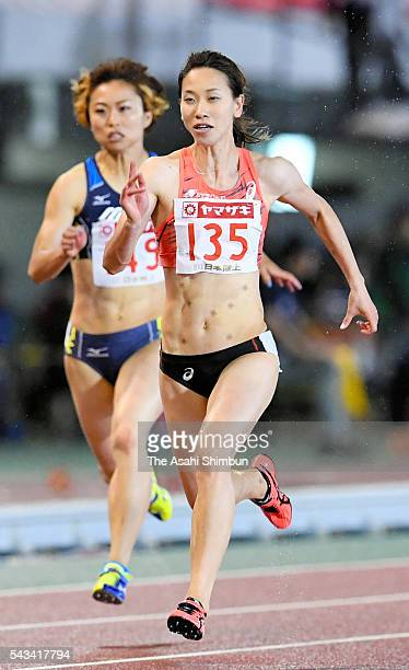 Chisato Fukushima competes in the Women's 100m during day two of the 100th Japan National Athletic Championships at the Paroma Mizuho Stadium on June...