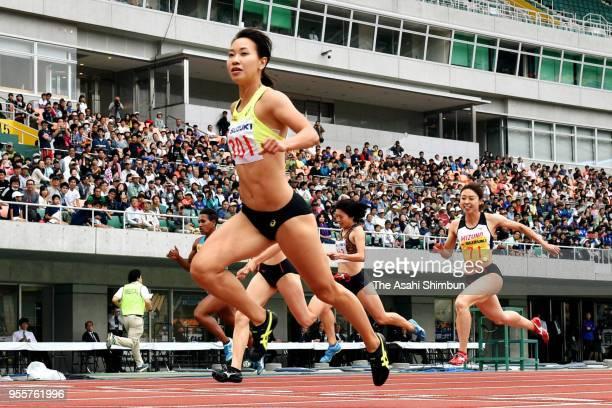 Chisato Fukushima crosses the finish line to win the Women's 200m final during the 34th Shizuoka International Meet at Shizuoka Stadium Ecopa on May...