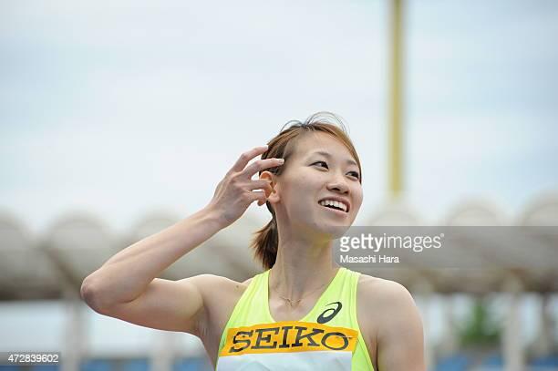 Chisato Fukushima looks on after 200m during the Seiko Golden Grand Prix Tokyo 2015 at Todoroki Stadium on May 10, 2015 in Kawasaki, Japan.