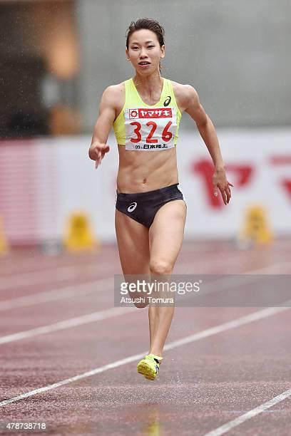 Chisato Fukushima of Japan competes in the womens 100 meter preliminary heat during the 99th Japan Athletics National Championships at Denka Big Swan...