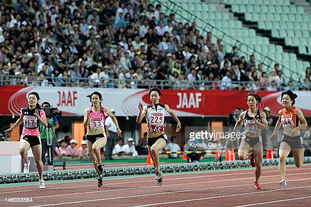 Chisato Fukushima of Japan competes in the Women's 100m final during day two of the 96th Japan National Championships at Nagai Stadium on June 9,...