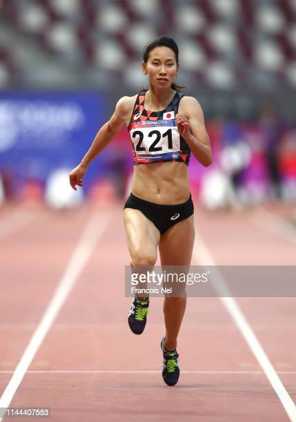 Chisato Fukushima of Japan competes in the women's 100m semi-final during day two of the 23rd Asian Athletics Championships at Khalifa International...