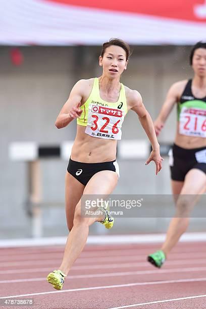 Chisato Fukushima of Japan competes in the womens 200 meter final during the 99th Japan Athletics National Championships at Denka Big Swan Stadium on...