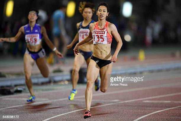 Chisato Fukushima of Japan competes in Women's 100m Final during the 100th Japan National Athletic Championships at the Mizuho Athletic Stadium on...