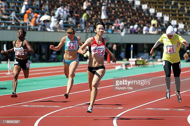 Chisato Fukushima of Japan crosses the finish line to win the gold medal in a time of 23.49 in the Women's 200m final during the day four of the 19th...
