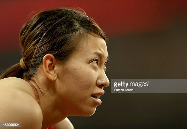 Chisato Fukushima of Japan looks on before competing in the Women's 100 metres semifinal during day three of the 15th IAAF World Athletics...