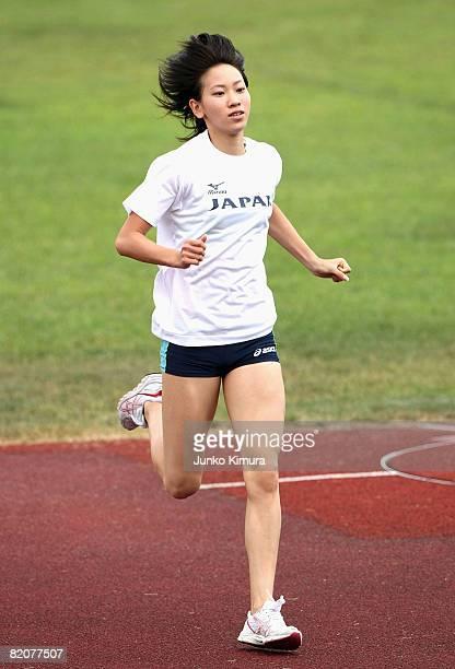 Chisato Fukushima trains during the Japan Olympic Sprint Team Open Training at Fuji Hokuroku Park Stadium on July 27 2008 in Fujiyoshida Yamanashi...