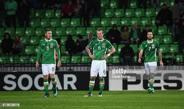 Chisinau Moldova 9 October 2016 James McCarthy left Glenn Whelan and Shane Duffy of Republic of Ireland look on after Igor Bugaev of Moldova scored...