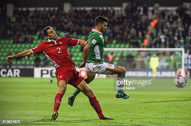 Chisinau Moldova 9 October 2016 Shane Long of Republic of Ireland in action against Igor Arma of Moldova during the FIFA World Cup Group D Qualifier...