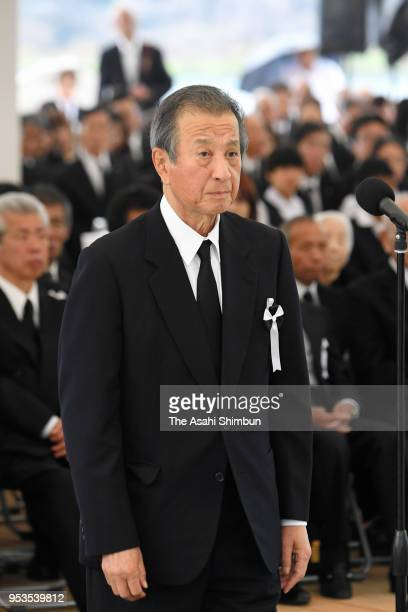Chisso President Shunkichi Goto attends a memorial ceremony on the 62nd anniversary of the mercurypoisoning disease on May 1 2018 in Minamata...