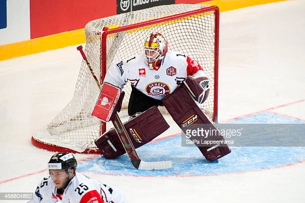 Chistophe Bays of Geneve Servette during the Champions Hockey League round of 16 second leg game between SaiPa Lappeenranta and Geneve-Servette at...