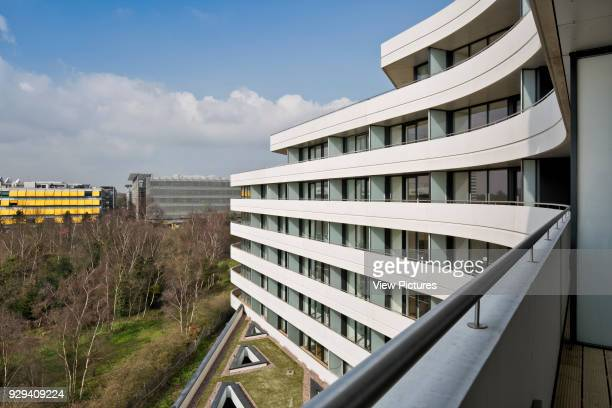 Chiswick Point Apartments balcony view over Gunnersbury Triangle Nature Reserve Chiswick Point Chiswick United Kingdom Architect Flanagan Lawrence...