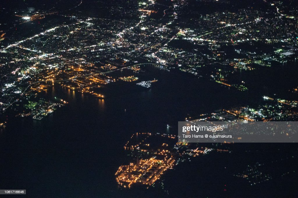 Chita Bay, Handa and Hekinan cities in Aichi prefecture in Japan night time aerial view from airplane : ストックフォト