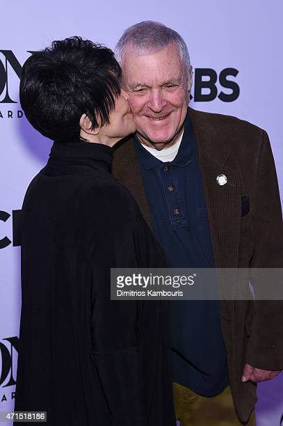 Chita Rivera and composer John Kander attend the 2015 Tony Awards Meet The Nominees Press Reception at the Paramount Hotel on April 29 2015 in New...