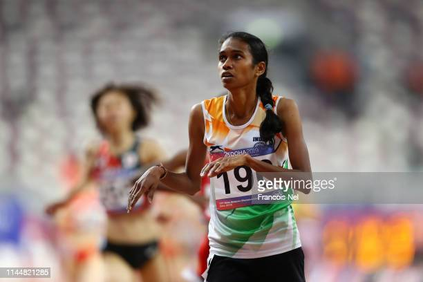 Chithra Palakkeezhil Unnikrishnan of India reacts after winning the 1500m Women Final during Day Four of the 23rd Asian Athletics Championships at...