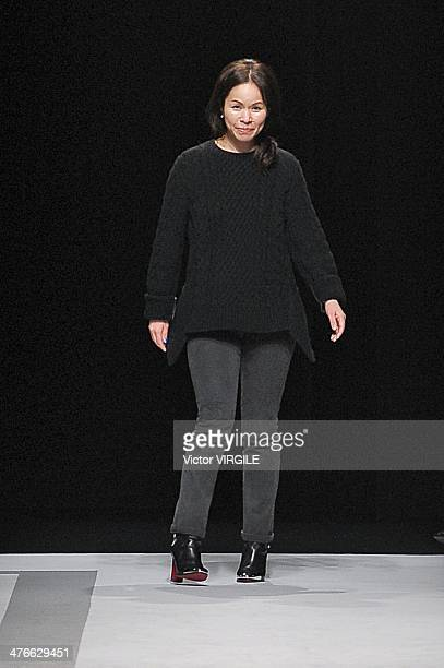 Chitose Abe for Sacai walks the runway during the Sacai show as part of the Paris Fashion Week Womenswear Fall/Winter 20142015 on March 3 2014 in...
