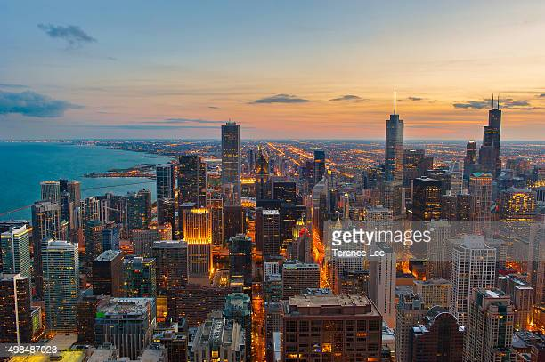 CONTENT] ChiTown Skyline from John Hancock Observatory Chicago Illinois at Sunset