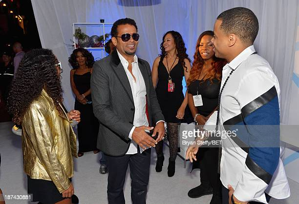 Chitra Sukhu Van Peebles Director Mario Van Peebles and actor Tristan Wilds attend the Soul Train Awards 2013 at the Orleans Arena on November 8 2013...