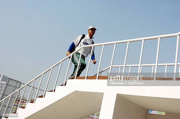 Australian cricket captain Ricky Ponting arrives for a net practice session at the Chittagong Divisional Stadium in Chittagong 15 April 2006 The...