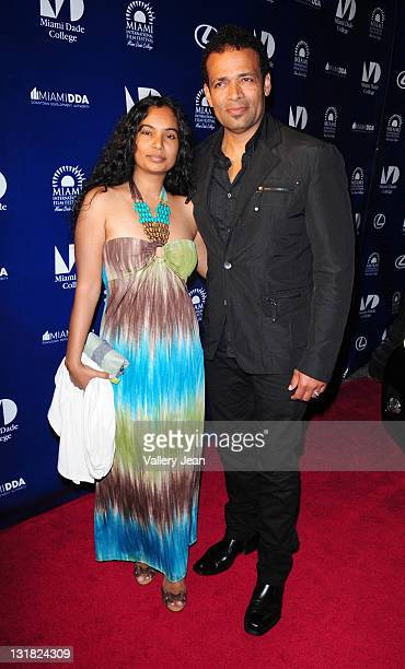 Chittra Sukhu and Mario Van Peebles attend the World Premiere of Things Fall Apart at the 2011 Miami International Film Festival at Gusman Center for...