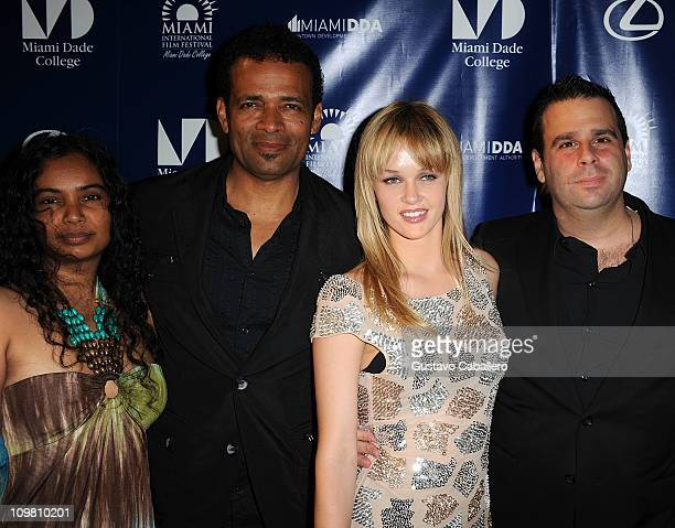 Chittra Sukhu Mario Van Peebles and Ambyr Childers and Randall Emmett attends the World Premiere of Things Fall Apart at 2011 Miami International...