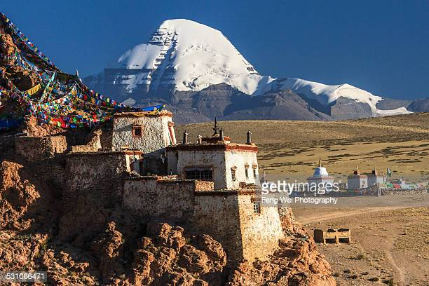 chiu gompa and mount kailash, tibet - mt kailash stock pictures, royalty-free photos & images