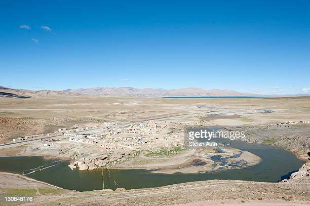 Chiu Gompa settlement on Lake Manasarovar, Lake Rakshastal at the back, Lanka Tso, Ngari Prefecture, Gangdise Mountains, Trans-Himalaya mountain range, Himalayas, west Tibet, Tibet Autonomous Region, People's Republic of China, Asia