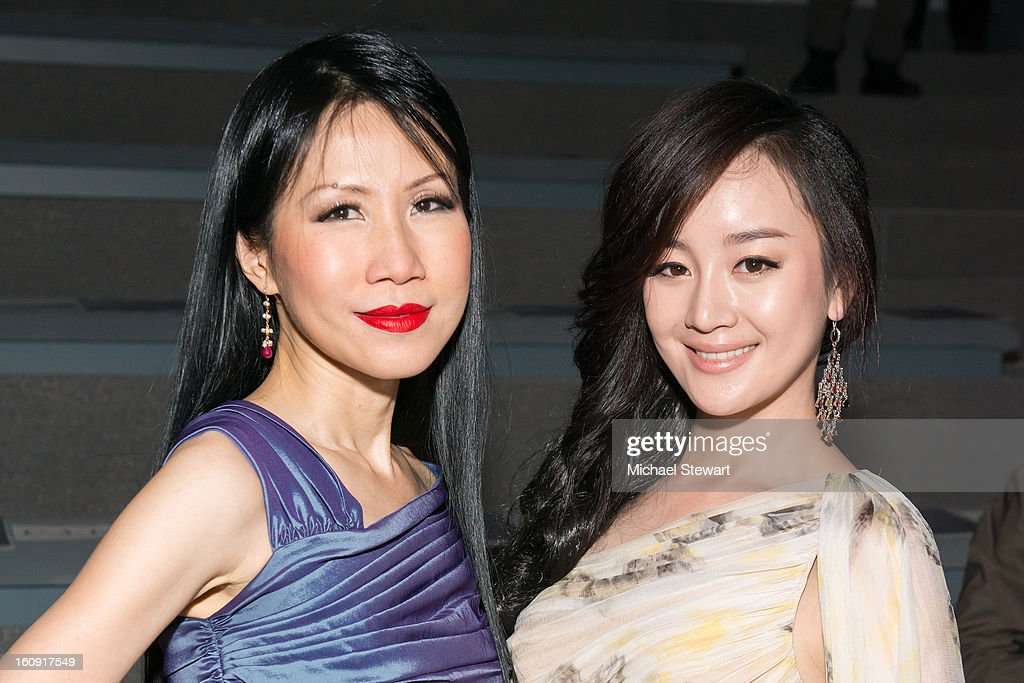 Chiu-ti Jansen (L) and actress Zhang Meng attend Tadashi Shoji during Fall 2013 Mercedes-Benz Fashion Week at The Stage at Lincoln Center on February 7, 2013 in New York City.