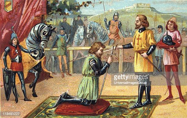 Chivalry in the Middle Ages Soldier having won his spurs being created a knight Cavalier War Military Europe Nineteenth century Trade Card...