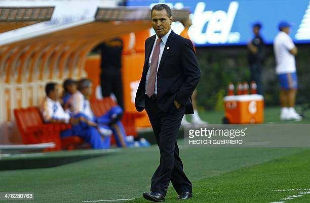 Chivas coach Jose Luis Real leaves the field at the end of the football match against Tigres during their Clausura 2014 Mexican tournament at the...