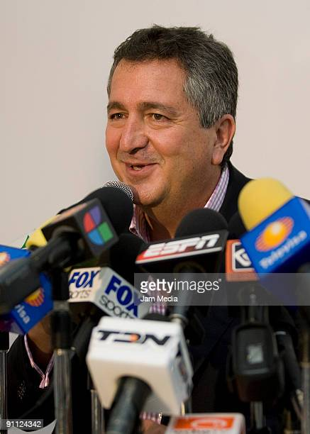 Chivas del Guadalajara's president Jorge Vergara speaks during a press conference to present the club's new sports president Rafael Lebrija at the...