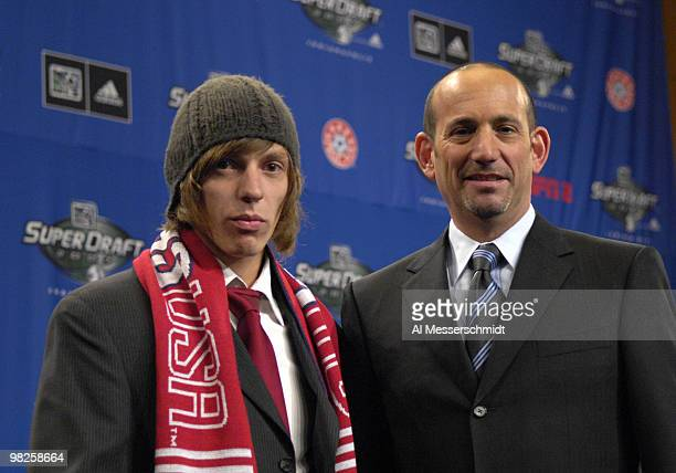 CD Chivas draft pick John Cunliffe and MLS commissioner Don Garber at the 2007 SuperDraft at the Indianapolis Convention Center in Indianapolis...
